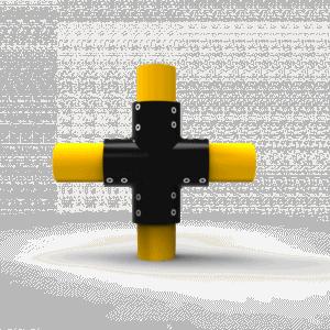 Conector en forma de cruz para bolardo tipo1